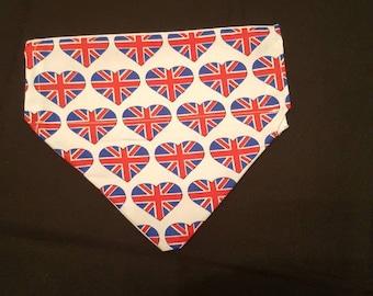 Light union jack hearts dog bandana
