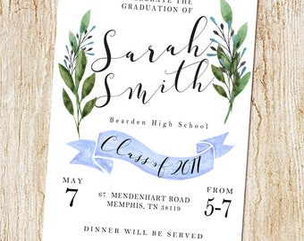 Graduation party invitation - Graduation lunch invitation - printable - digital file or PRINTED- Graduation Brunch - Graduation celebration