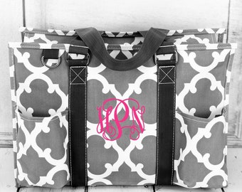 Gray or Black Moroccan Diaper Bag/ Craft Tote With Pockets/ Tote Bag Personalized/ Monogrammed Diaper Bag/ Utility Tote/ Camera Bag