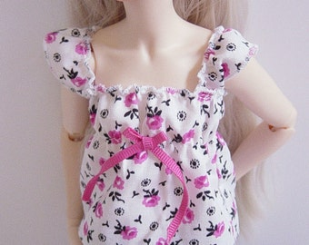 White with Pink & Black Rose Print MNF/Minifee/Unoa/Slim MSD Top with Ruffled Sleeves
