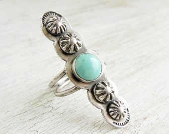 Southwest Turquoise Ring, Sterling Silver, Turquoise Ring, Statement Ring, Boho Jewelry, Turquoise Ring For Women