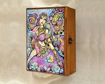 mermaid dance, beautiful woman, mermaid fantasy art, wooden gift box, mother box, christian box, jewelry box, 7x10