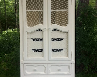 SOLD!!   Cottage Chic Shabby Armoire, French Provincial Armoire, French Wire Door Armoire, Hollywood Regency Armoire, Hickory Manufacturin