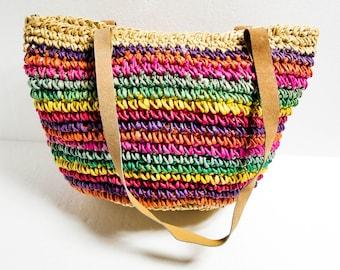 Straw market bag - Woven straw bag - Farmer's market bag - Straw beach bag - Striped Straw bag - Sisal bag - Boho straw bag