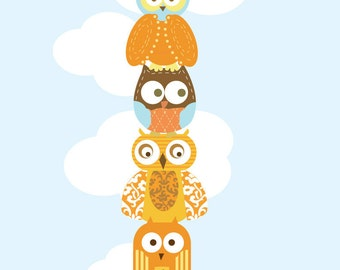 Owl Print Art for Nursery- Stacked Owls- 111X17 Inches, Custom colors