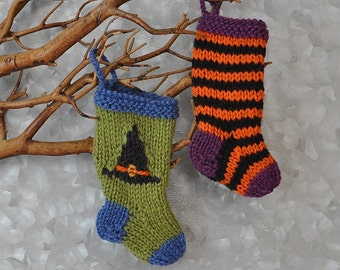 Halloween Witch Hat & Sock Hand-Knit Christmas Stocking Ornaments