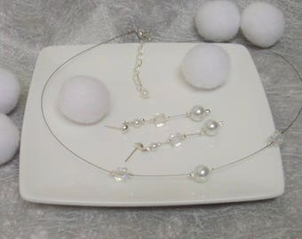 Necklace jewelry wedding necklace, bride, Maid of honor + white pearls and crystal earrings