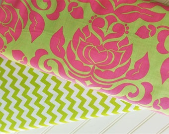 Riley-Blake-Designs-Extravaganza, by Lillia Tueller,Pink-Lime- Damask-Palm-Beach-Small-Chevron-Cotton-Fabric-By-The-Yard-Bundle-Options