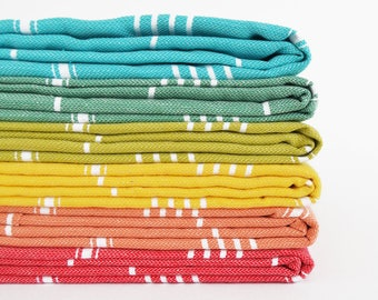 SALE 50 OFF / SET 6 / Turkish Beach Bath Towel / Classic Peshtemal / Yellow - Green - Pale Orange - Blue - Red - Mustard