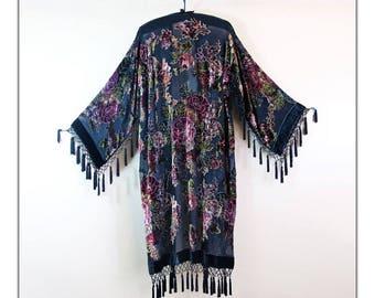 Deep Teal Blue Victorian Roses Beaded Kimono Gypsy Duster