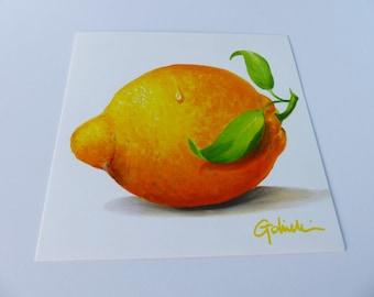 square lemon yellow illustration card