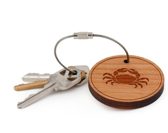 Crab Keychain, Wood Keychain, Custom Keychain, Gift For Him or Her, Wedding Gifts, Groomsman Gifts, and Personalized