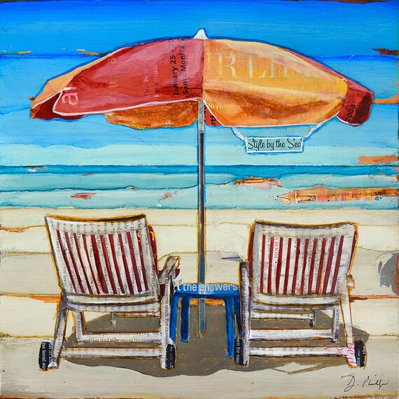 Stylin' - Umbrella and Chairs at Beach ART PRINT or CANVAS ocean sea  love retirement engagement gift poster wall home decor,All Sizes