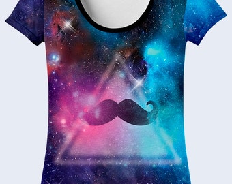 Outer Space T Shirt, Mustache Purple T Shirt, Cool T Shirts, Crazy Galaxy Clothing, Triangle Crew Neck Tee, Astronomy Gift