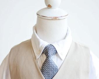 Necktie, Neckties, Boys Tie, Boys Necktie, Baby Tie, Baby Necktie, Baby Neckties, Wedding Ties, Ring Bearer, Ties - Indigo Chambray Dot
