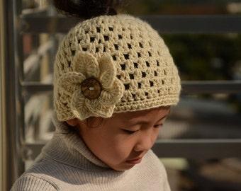 Crochet Flower Messy Bun Beanie Ponytail Hat, Ponytail Beanie, Messy Bun Hat