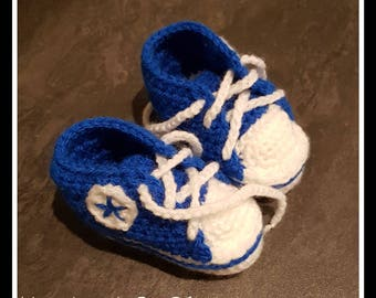 Baby crochet Sneakers Shoes - converse - birth to 6 months - birthday gift