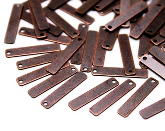 100 pcs 4x20 mm Brass Rectangle, Stamping Blank, Findings, Antique Copper