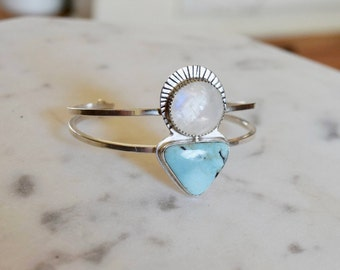 Moonstone and Turquoise Cuff Bracelet Turquoise Jewelry Moonstone Jewelry Boho Jewelry Modern Recycled Silver Cuff Bracelet Gifts for Her