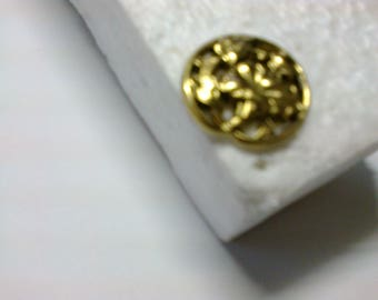 """""""Shrub and leaf"""" gold metal button with shank """"BOR17"""" ø 2.20 cm"""