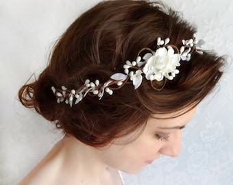 bridal hair piece, wedding headpiece, white floral headband, bridal headband, bridal hair accessories, hair vine, bridal hairpiece #31