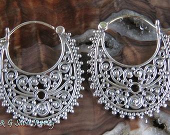 Sterling Silver Bali Ornate Hoop Earrings SE-878-DG