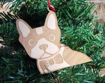 Wooden Boston Terrier Christmas ornament Boston Christmas Ornament Boston Terrier ornament dog christmas pet ornament dog lover terrior dog