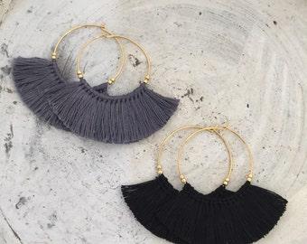 Boho earrings fringe earrings tassel earrings black hoop earrings cheap shipping statement earrings