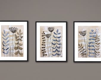 set of 3 paintings abstract painting beige brown white blue original painting abstract art watercolor painting
