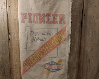 Vintage 1956 Pioneer seed sack made to order messenger or tote bag
