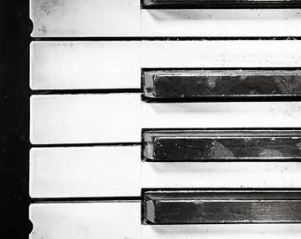 "Piano Art, Music Print, Vintage Piano, Black and White Photography, Abstract Music Art, Piano Print, Music Wall Decor, Old Piano ""Keys"""