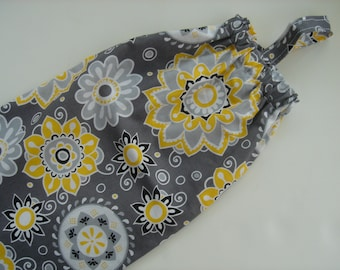 Plastic Grocery Bag Holder Gray and Bright Yellow Modern Flowers