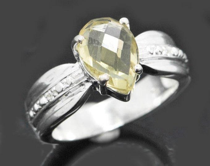 Lemon quartz ring, sterling silver ring, rose cut, gemstone ring, one of a kind,  lemon citrine ring