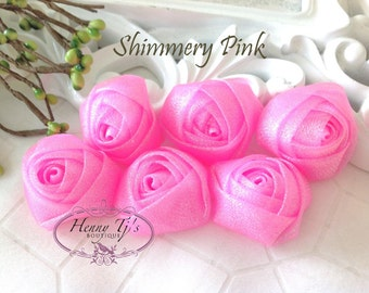 New to the Shop: Set of 6 - 1.5 inch PETITE Shimmery Glitter Rolled Rosettes Fabric flowers - PINK Rolled rose Bud.