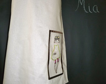 A-line SKIRT - Linen Mix - Hand Embroidered Mod Girl - Made in ANY Size - Boutique Mia
