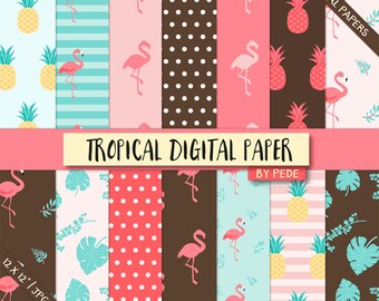 Tropical digital paper, flamingo digital paper, pineapple, summer, birds, animals, leaves, stripes, polka dots, download