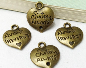 25pcs 15mm Antique Bronze Sister Always, Friends Forever Heart Charm Pendant F501-5