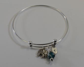 Expandable Bangle - Sterling Silver - Personalized with Elephant Charm and Gemstone