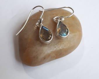 Teardrop labradorite earrings;  solid 92.5 sterling silver
