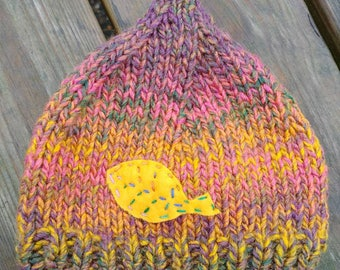 Baby pixie hat knit applique leaf