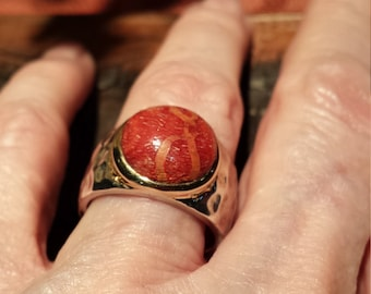 Sterling silver natural coral (apple) ring with 18k rim