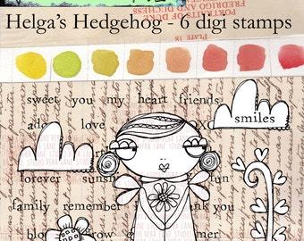 Helga's Hedgehog - 6 digi stamp bundle