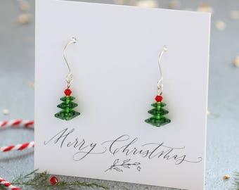 Swarovski crystal christmas tree earrings, christmas tree earrings, christmas jewellery, festive earrings for her, christmas gift ideas