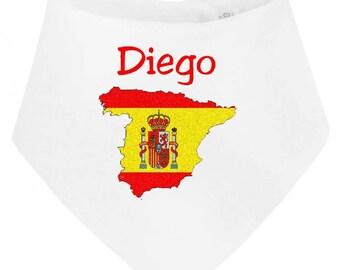Personalized with name Spain baby bandana bib