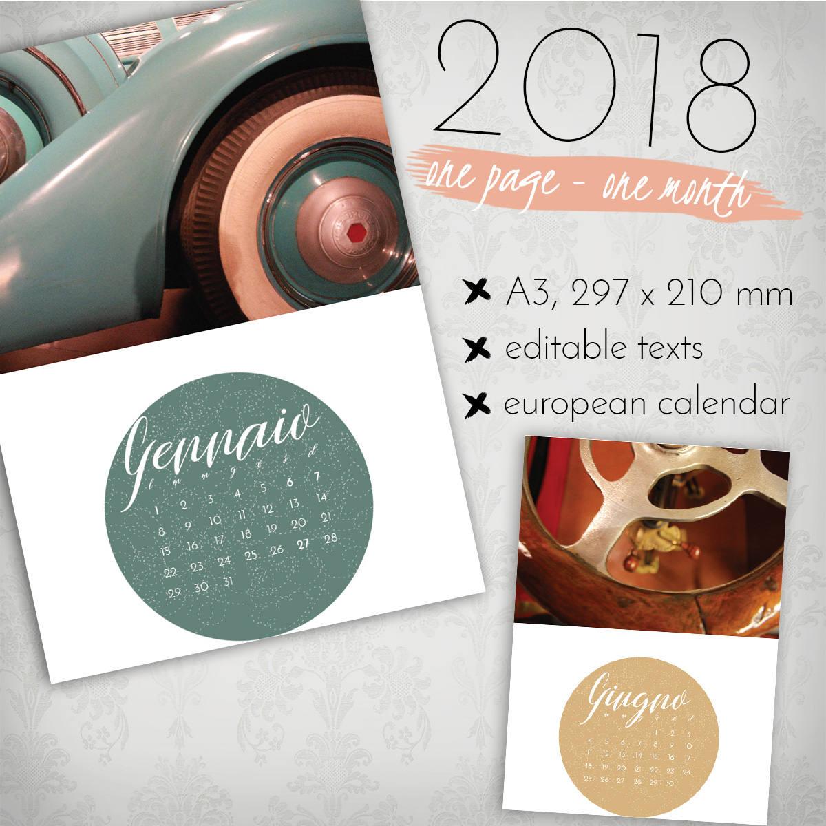 2018 Kalender Fotokalender Photoshop-Vorlage europäischen