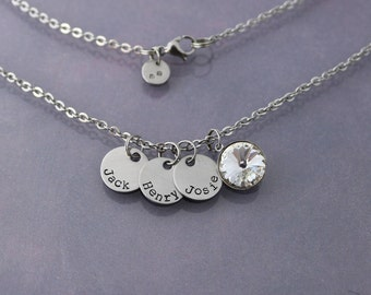 Hand Stamped Name Necklace with Birthstone Accent -Stainless Steel