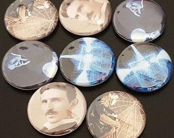 """8 Nikola Tesla 1"""" Buttons/Pinbacks/Badges Science The Prestige Electricity Vintage"""
