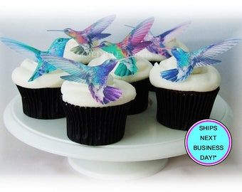 Edible Hummingbird, Cake Toppers, Cupcake Decorations, Wedding Favors, Edible Bird Image, Mother's Day Cake, Birthday Cake Toppers,