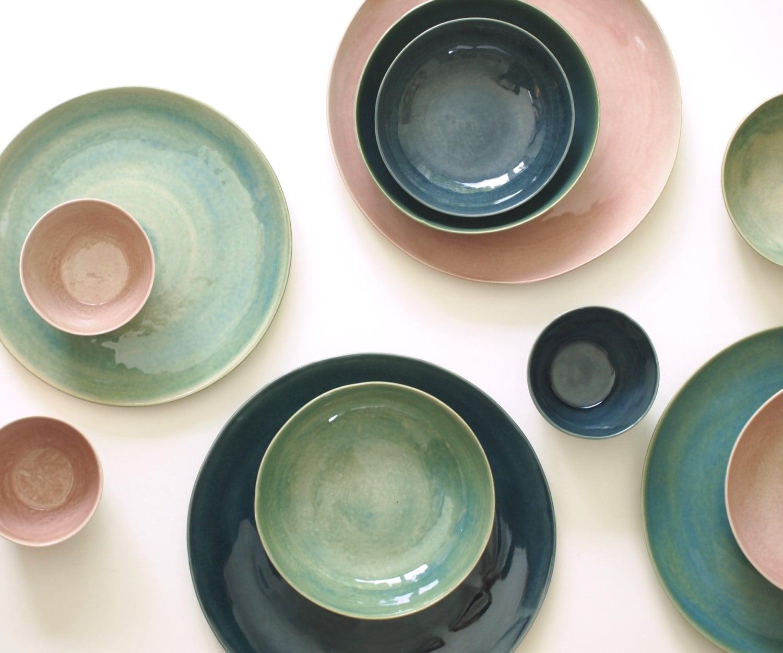Steinzeug Geschirr steinzeug teller set grün blau rosa keramik geschirr