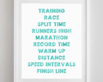 Running Watercolor Art Print